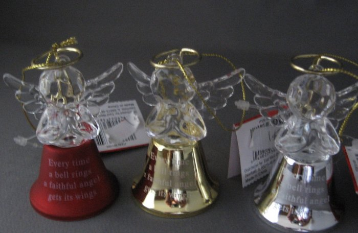 Christmas ornaments set of 3 angel bells