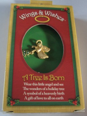 Christmas Wings and Wishes angel with tree pin