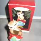 Teddy in high chair Teddy bear ornament collection  Avon Christmas ornament
