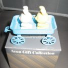 Bunnies in wagon spring bunnies collection  Avon Christmas ornament
