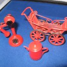 3 pieces red dollhouse miniatures metal