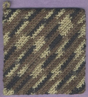 Handmade crocheted hot pad variegated colors 1 new