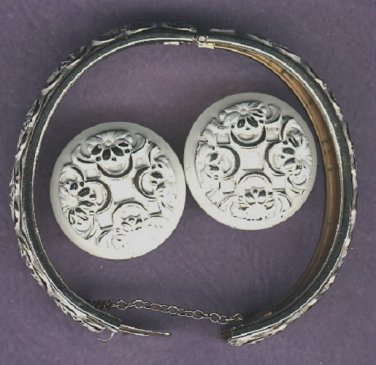Brass bracelet and matching earrings vintage