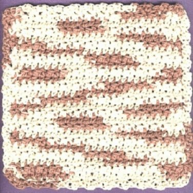 Handmade crocheted   4-ply cotton yarn dishcloth desert sand ..new