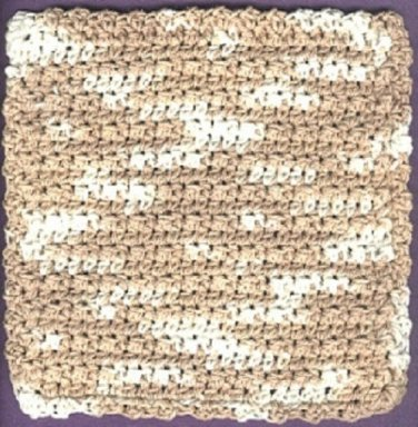 1 handmade crocheted 4-ply cotton yarn dishcloth, natural ombre,  new