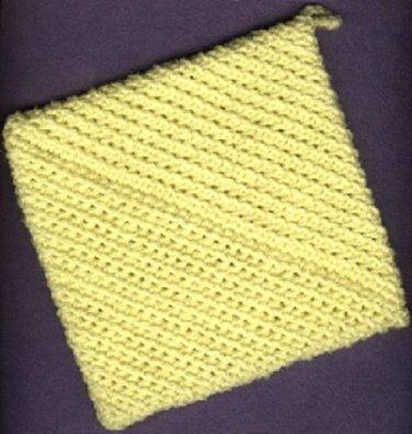 NEW handmade crocheted hot pad and hanging towel,YELLOW