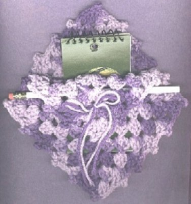 Crocheted pad and pencil holder purple lavender new vintage