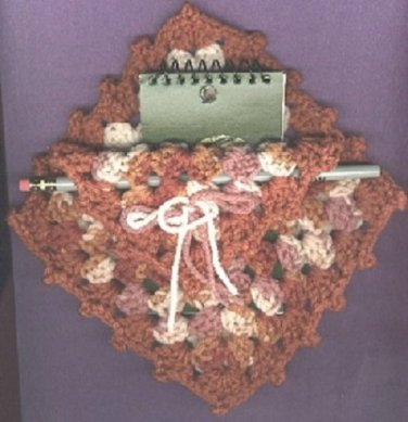 Crocheted pad and pencil holder new vintage