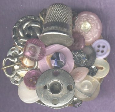 Vintage button brooch pin handmade with sewing items
