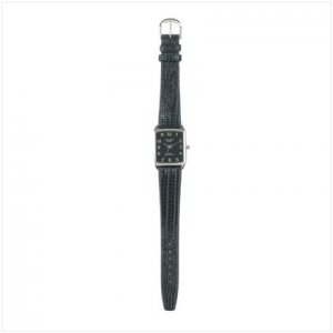 Null Black Leather Emboss Band Watch
