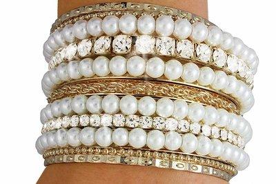 Austrian Crystal & Faux Pearl Bangle Bracelet 11 pc. set