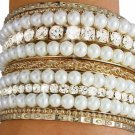 Austrian Crystal & Faux Pearl Bangle Bracelet 11 pc. set