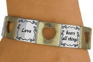 *Love* & cut out heart stretch bracelet matte two tone -W10731B