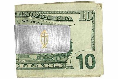 Money Clip two tone Christian FISH & CROSS