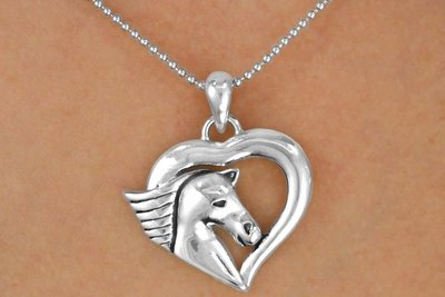 Heart With Horse Head NECKLACE & EARRING SET