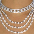 WEDDING DAY prom BRIDAL JEWELRY SET 3 Strand Austrian Choker