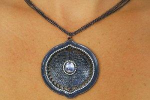 Necklace & earring set Gunmetal silver tone