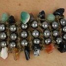 Genuine stones & Hematite 5 row woven Bracelet