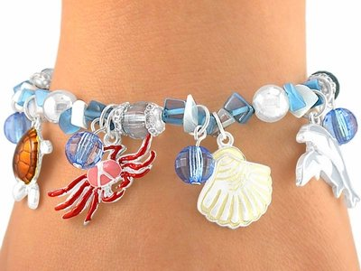 """Creatures Of The Sea"" sEA animals Stretch Bracelet beaded"