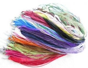 Wholesale lot 100pc Mix Organza Voile Ribbon Necklace Cords