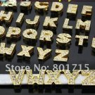Wholesale lot Slide letters Charms 8mm Rhinestone Gold Alphabet
