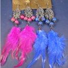 Wholesale lot Feather Earrings BUSINESS OPPORTUNITY 10 dozen 10 styles