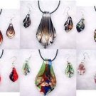 wholesale leaf lampwork glass pendants necklace set Free shipping jewelry sets