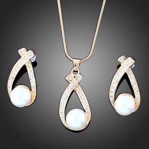 Free Shipping 18K GP Crystal Fashion Necklace & Earring set