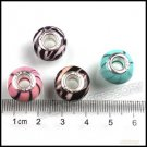 DIY 64 pc Round Resin Loose Charms Beads Black Lines Fit European Bracelet