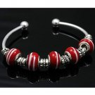 925 sterling silver bead RED w/white swirl