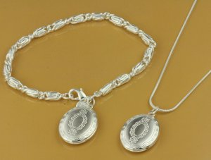 Fashion Jewelry 925 Silver Necklace Bracelet Set antiqued look FREE SHIP