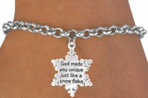 Snowflake Charm and Chain bracelet religious jewelry