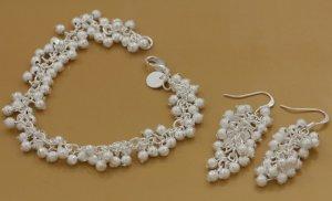 Faux PEARL cluster bracelet earring set 925 silver FREE shipping