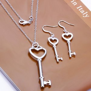 Key to my heart jewelry set 925 silver FREE shipping