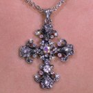 Aurora Borealis Crystaled CROSS necklace religious fashion jewelry