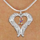 Guardian Angel Wings AUTISM AWARENESS snake chain NECKLACE