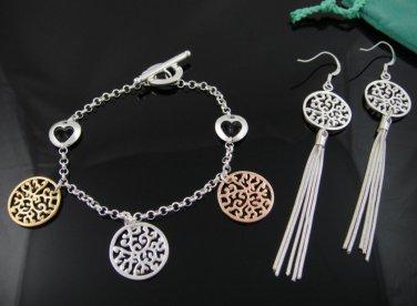 Bronze, silver & gold trio 925 silver HEARTS bracelet & earrings set