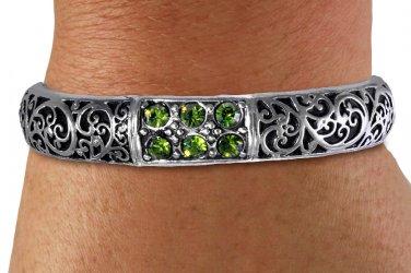 Stretch Bracelet Vintage Ivy Script Style Antiqued Silver Tone And Black Fill