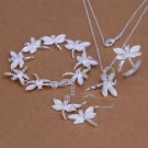 925 sterling silver dragonfly jewelry sets necklace bracelet bangle earring ring