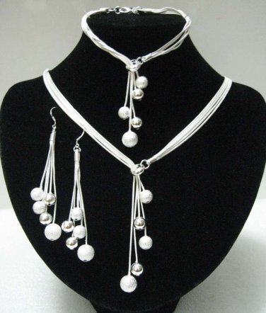 925 Sterling Silver 3pc. Necklace jewelry set