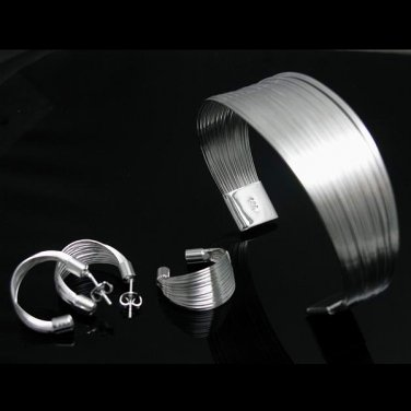 925 sterling silver plated JEWELRY SETS bangles/rings/earrings for women