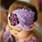 Cute Infant Baby Toddler Feather Flower Diamond Soft Headband Headwear Hair Band