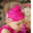 Infant Baby Toddler FH03 Feather Flower Diamond Soft Headband Headwear Hair Band