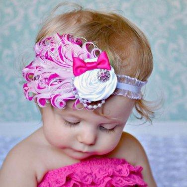 Infant Baby Toddler FH05 Feather Flower Diamond Soft Headband Headwear Hair Band