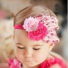 Infant Baby Toddler FH09 Feather Flower Diamond Soft Headband Headwear Hair Band