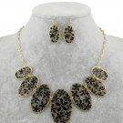 18k gp flower rhinestone necklace earring set womens jewelry fashion jewelry