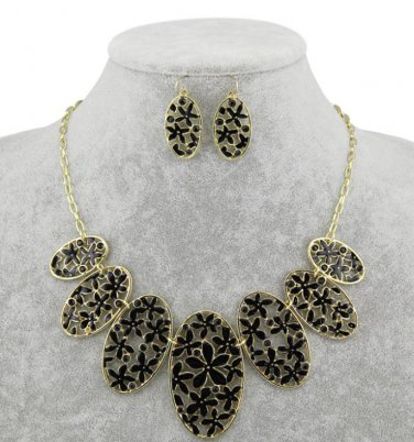 18k gp flower rhinestone necklace earring set womens jewelry fashion jewelry