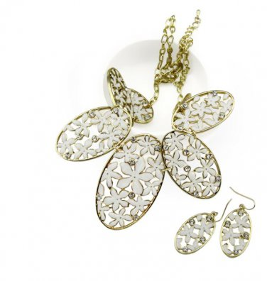 18k gp WHITE flower rhinestone necklace earring set womens jewelry fashion jewelry