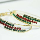 Christmas Fashion Hoop Earrings Multi-Colored Swarovski Crystal jewelry
