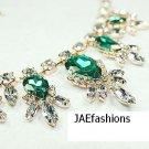 WEDDING DAY JEWELRY Green Rhinestone crystal Round Teardrop Bib Necklace